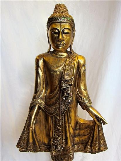 Ornate Gold Colored Teak Wood Mandalay Style Standing